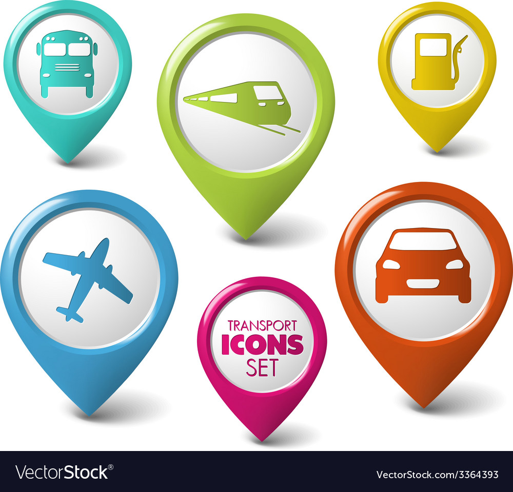 Set of round 3d transport pointers vector | Price: 1 Credit (USD $1)