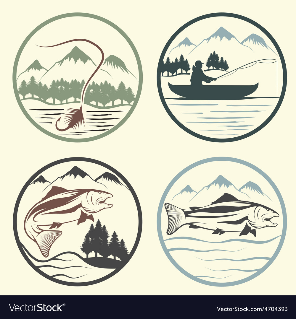 Set of vintage labels with fishing theme vector   Price: 1 Credit (USD $1)