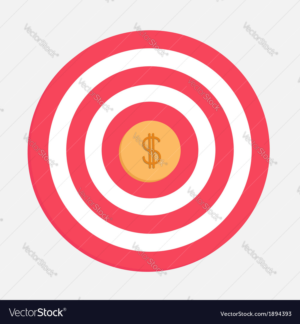 Target with big dollar coin flat design vector | Price: 1 Credit (USD $1)