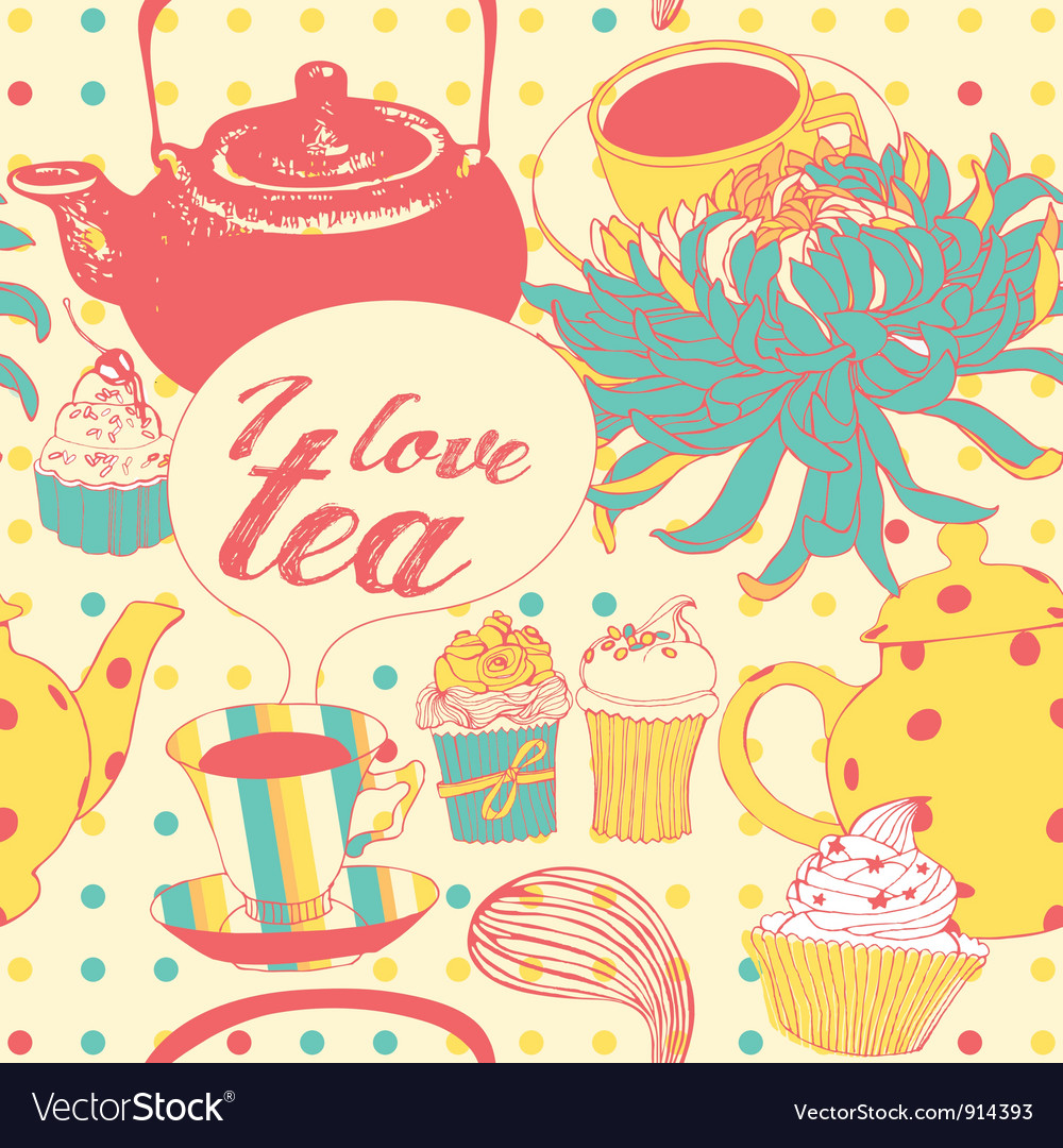 Tea-pot with flowers and pastries vector | Price: 1 Credit (USD $1)