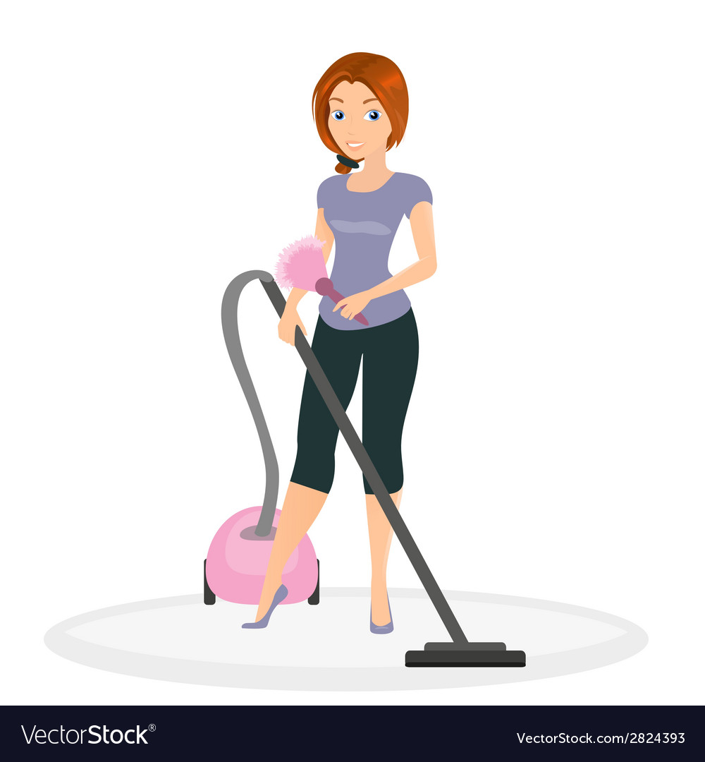 Woman doing housework vector | Price: 1 Credit (USD $1)