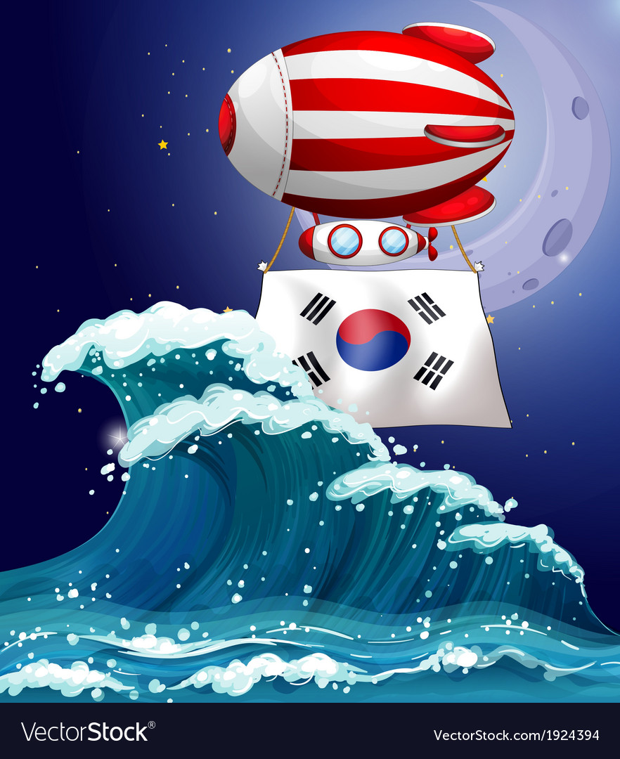 A floating balloon with the south korean flag vector | Price: 3 Credit (USD $3)