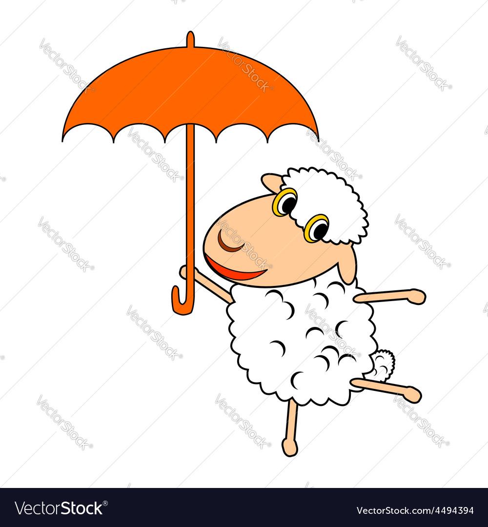 A funny cartoon sheep with an umbrella vector | Price: 1 Credit (USD $1)