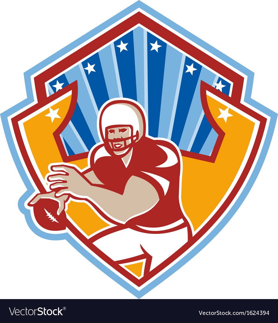 American football quarterback star shield vector | Price: 1 Credit (USD $1)