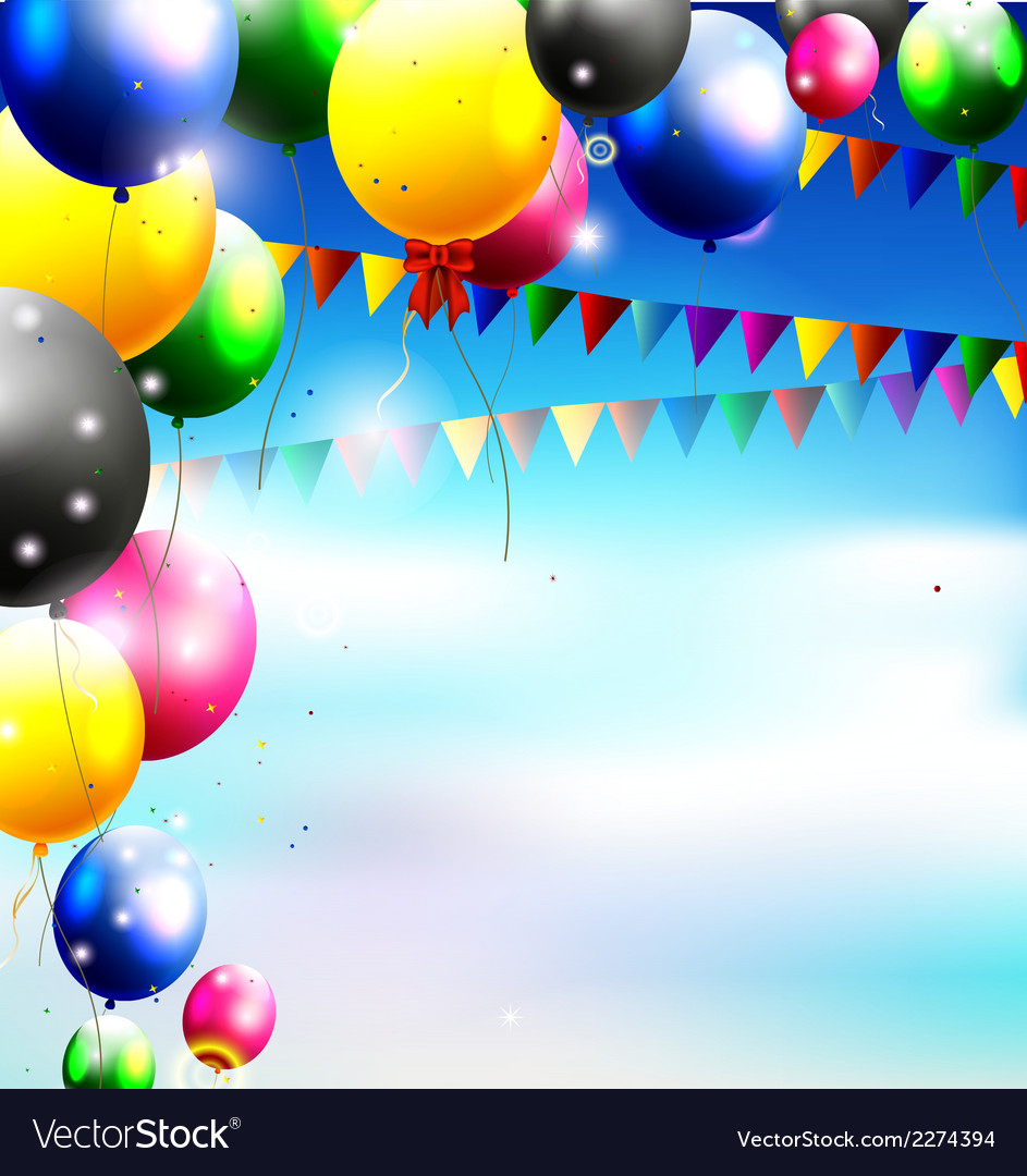 Balloons in the sky for birthday background vector | Price: 1 Credit (USD $1)
