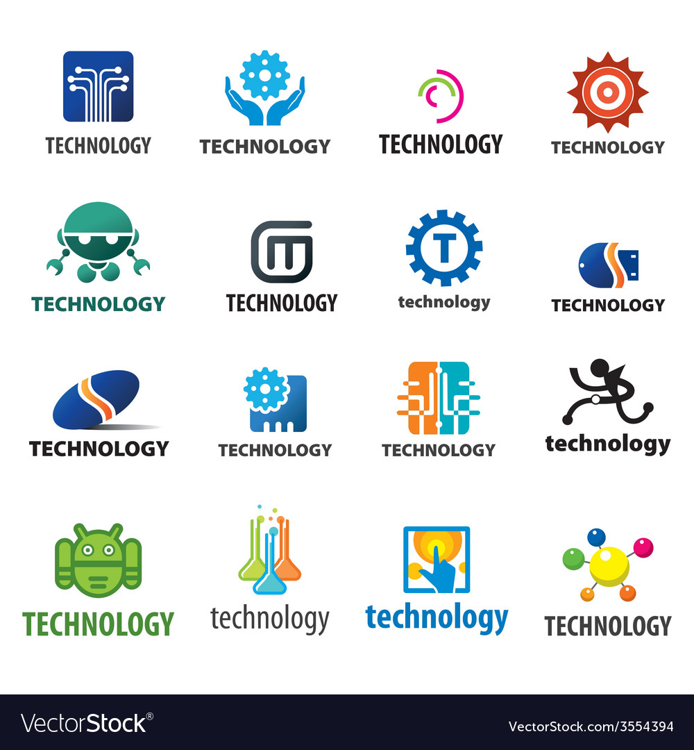 Biggest collection of logos technology vector