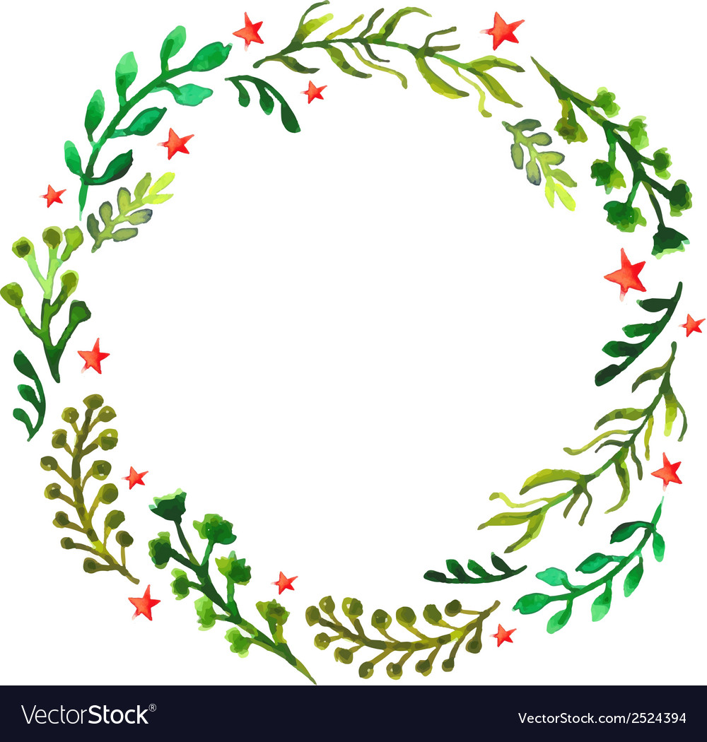 Natural floral circle background with green leaves vector | Price: 1 Credit (USD $1)