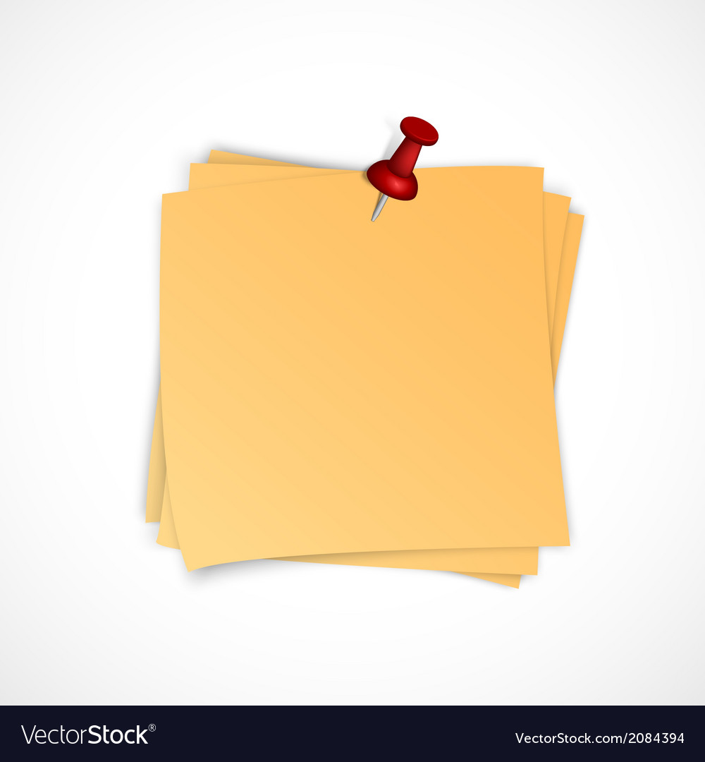 Note paper stack with pin vector | Price: 1 Credit (USD $1)