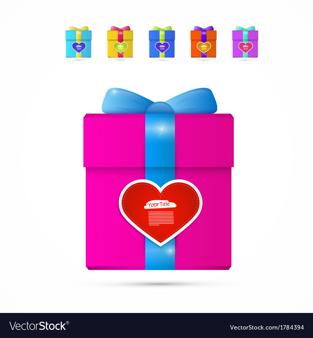 Present box gift box with heart vector | Price: 1 Credit (USD $1)