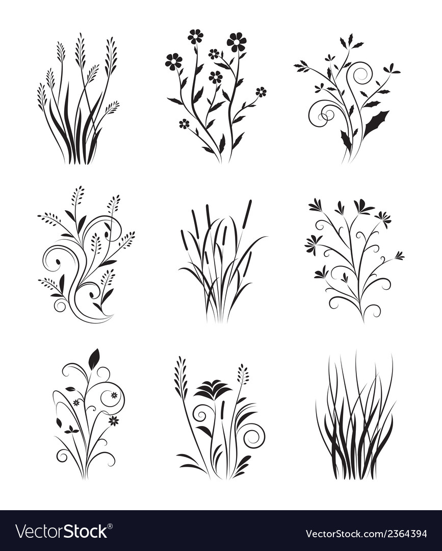 Vintage floral set vector | Price: 1 Credit (USD $1)