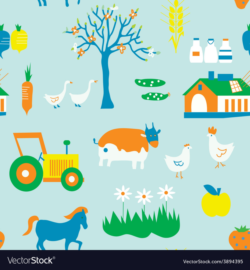 Agriculture seamless pattern with trees animals vector | Price: 1 Credit (USD $1)