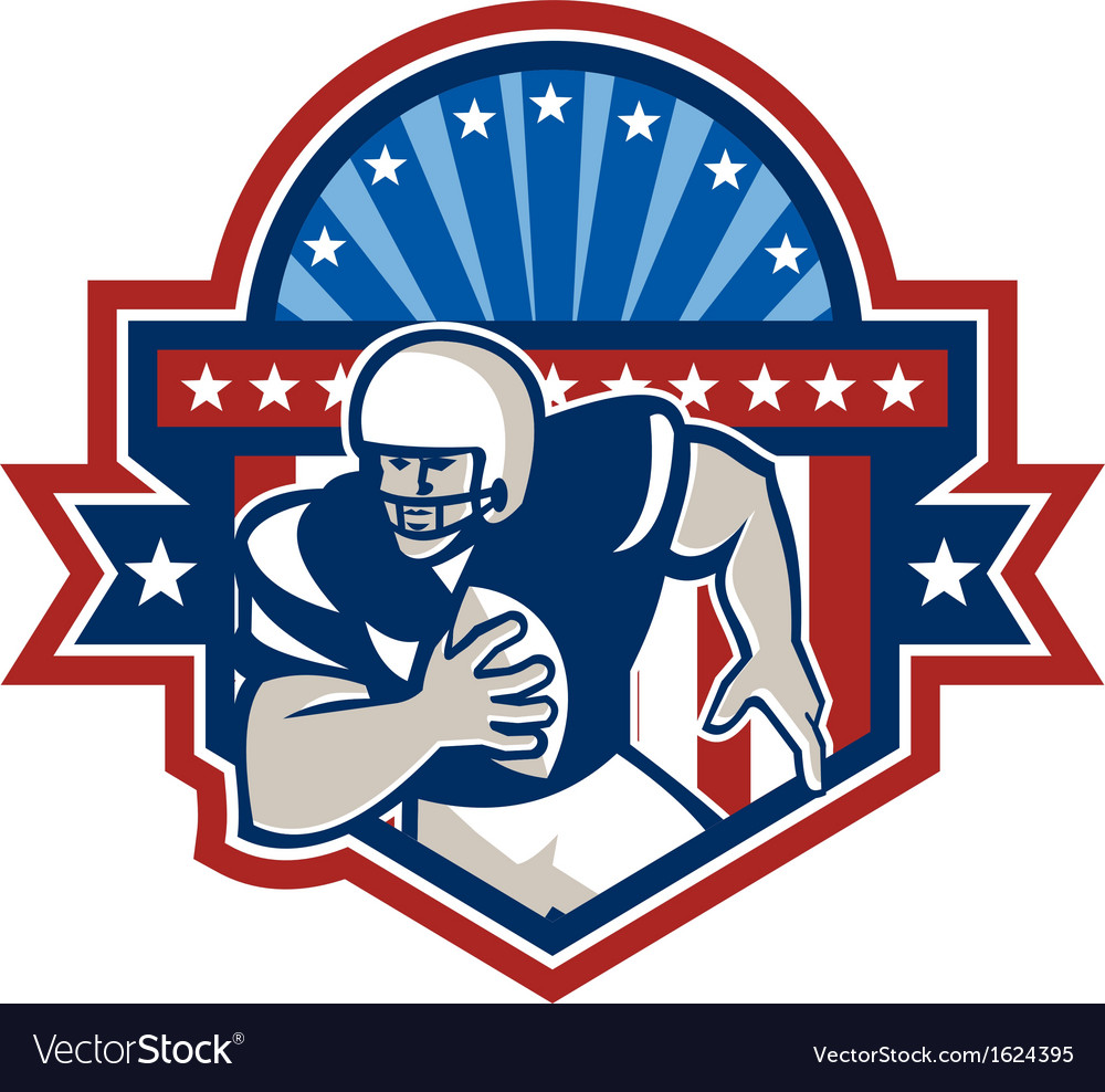 American football qb quarterback crest vector | Price: 1 Credit (USD $1)