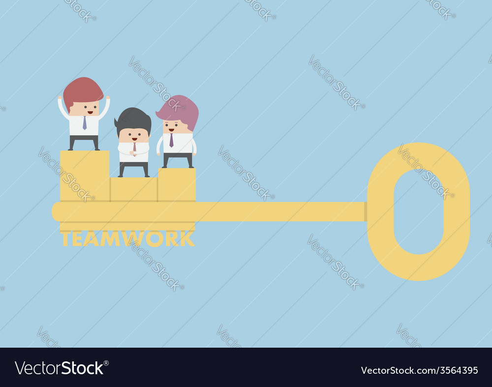Businessman stand on the golden key teamwork conc vector | Price: 1 Credit (USD $1)