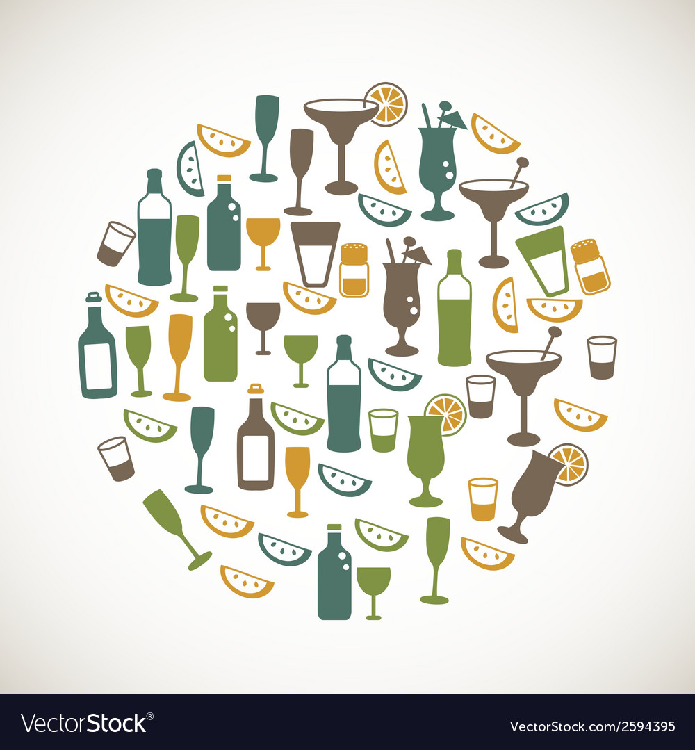 Colorful drinks icons vector | Price: 1 Credit (USD $1)