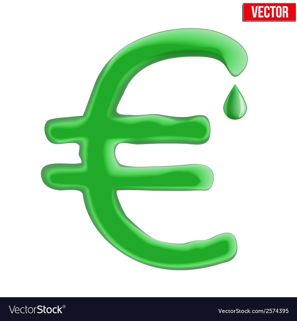 Currency euro in green liquid form vector | Price: 1 Credit (USD $1)