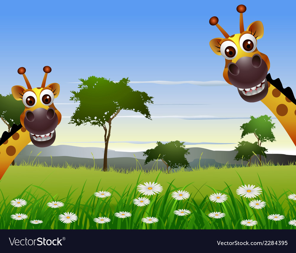 Cute couple giraffe cartoon with landscape backgro vector | Price: 3 Credit (USD $3)