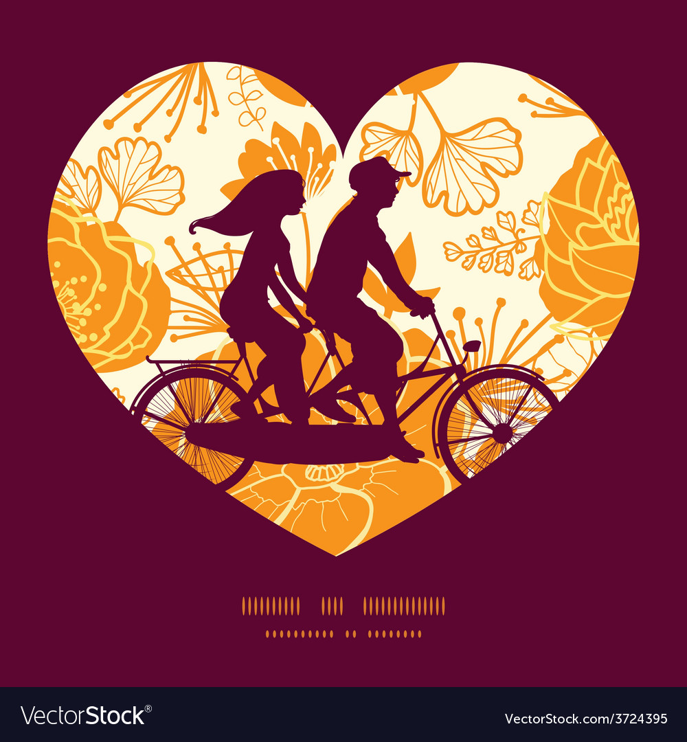 Golden art flowers couple on tandem bicycle vector | Price: 1 Credit (USD $1)