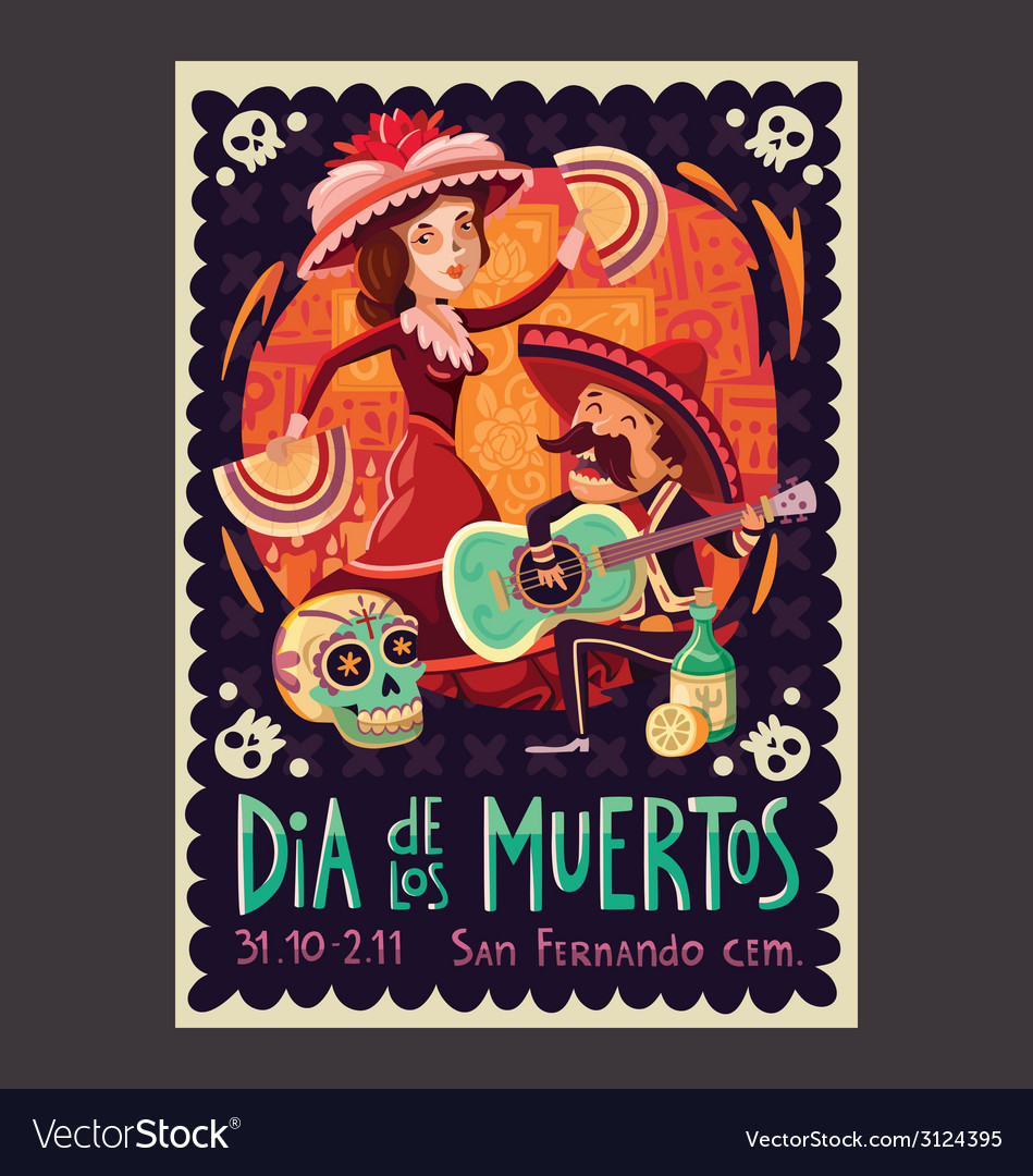 Invitation to the day of the dead party vector