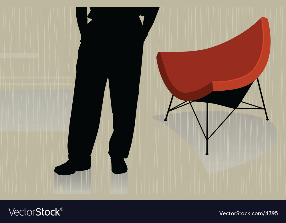 Man with chair vector | Price: 1 Credit (USD $1)