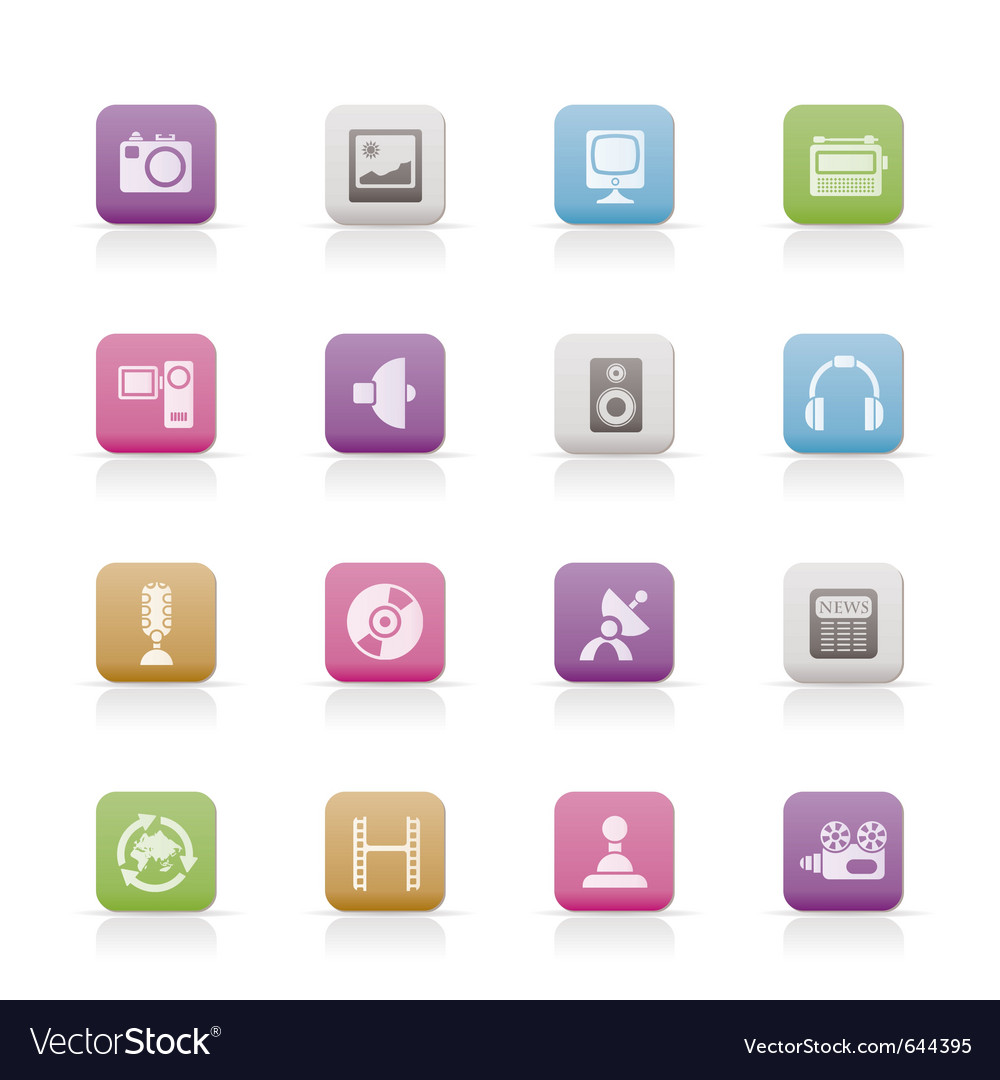 Media and household equipment icons vector | Price: 1 Credit (USD $1)
