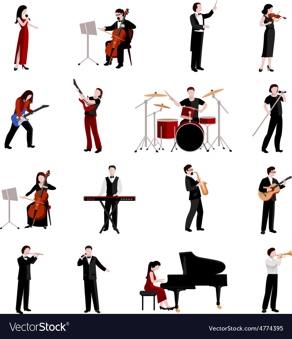 Musicians icons set vector | Price: 1 Credit (USD $1)