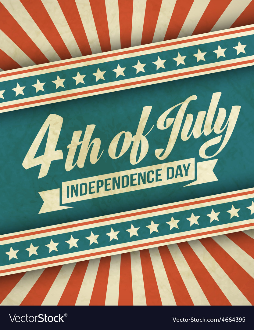 Retro typography card independence day vector