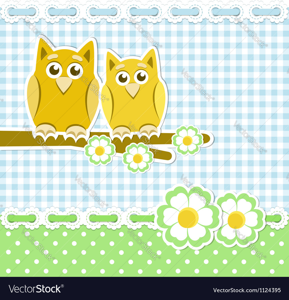 Romantic background with owls on blossoming branch vector | Price: 1 Credit (USD $1)