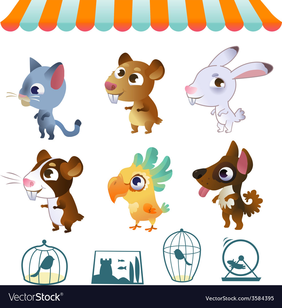 Set of cartoon pets vector | Price: 1 Credit (USD $1)