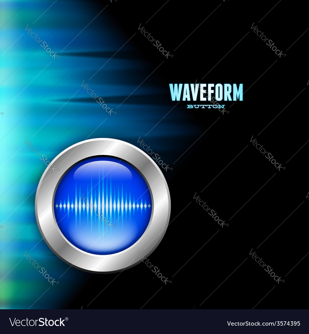 Silver button with sound wave sign and polar light vector | Price: 1 Credit (USD $1)