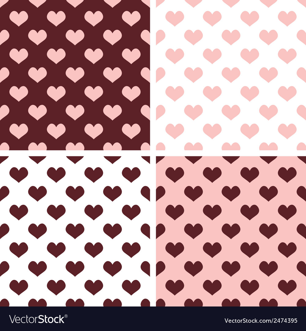 Tile brown pink and white hearts pattern set vector | Price: 1 Credit (USD $1)