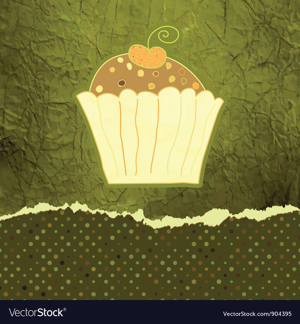Vintage cupcakes birthday card vector | Price: 1 Credit (USD $1)