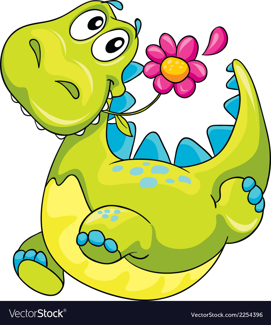 A dinosaur and flower vector | Price: 1 Credit (USD $1)