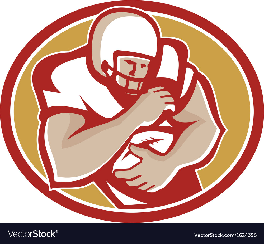 American football running back oval retro vector | Price: 1 Credit (USD $1)