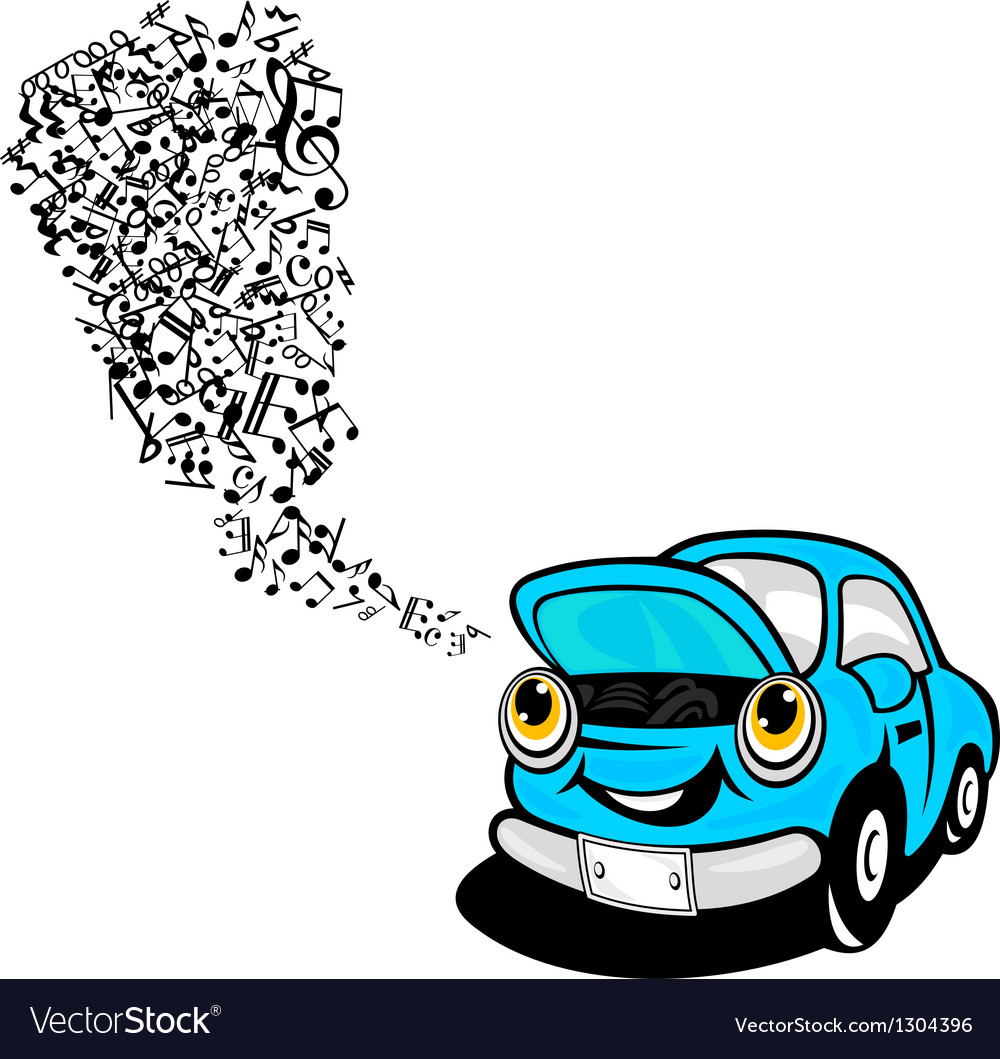 Blue car sing a song vector | Price: 1 Credit (USD $1)
