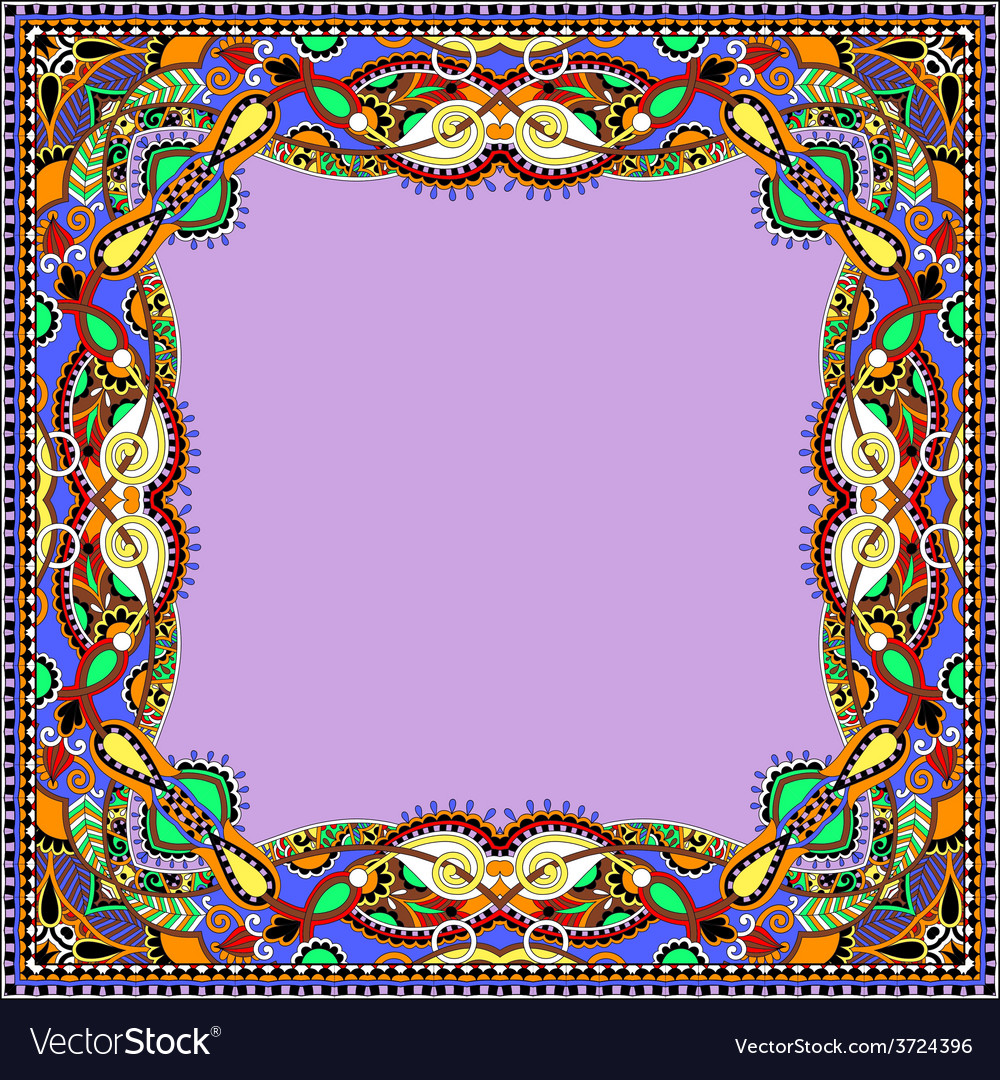Floral vintage frame ukrainian ethnic style vector