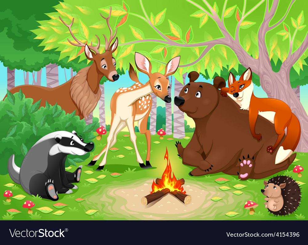 Funny animals stay together in the wood vector | Price: 3 Credit (USD $3)