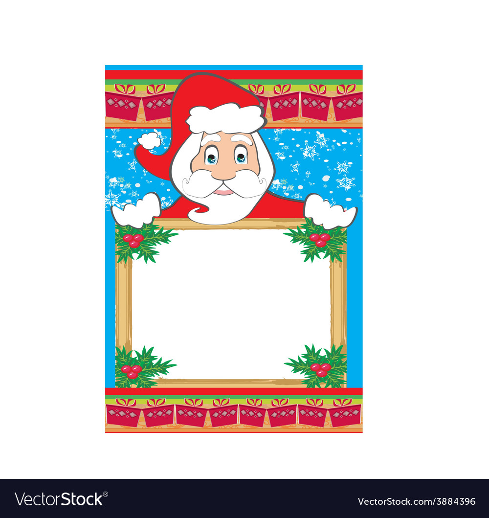 Funny santa claus holding a christmas frame - vector | Price: 1 Credit (USD $1)