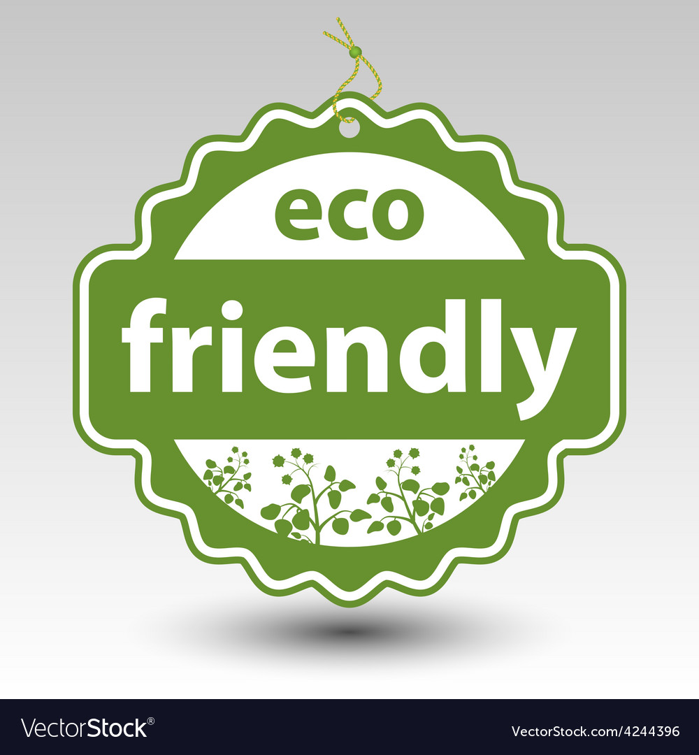 Green eco friendly stamp tag label vector | Price: 1 Credit (USD $1)