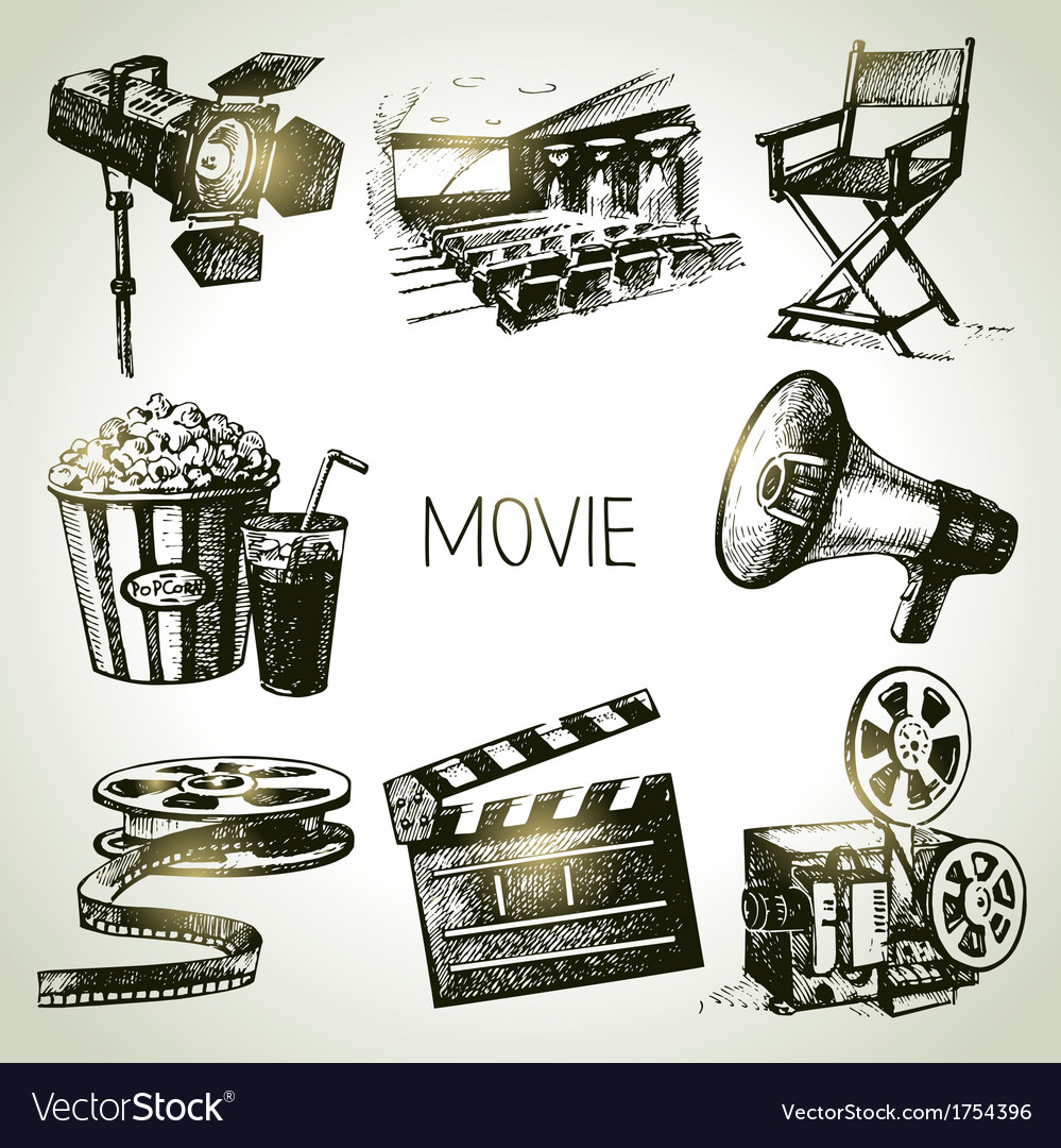 Hand drawn vintage movie and film set vector | Price: 1 Credit (USD $1)