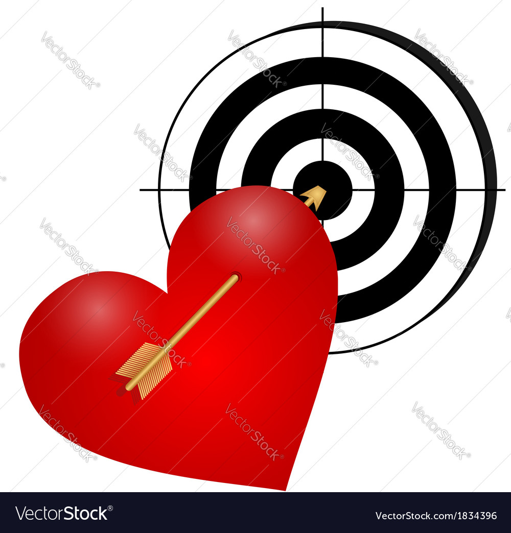 Heart with arrow and a target vector | Price: 1 Credit (USD $1)
