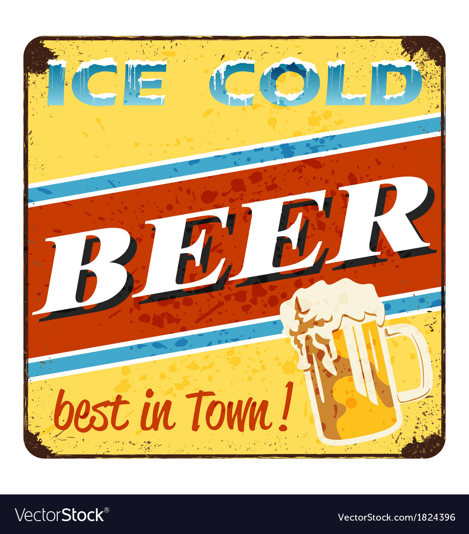 Ice cold beer - vintage beer advertisement vector | Price: 1 Credit (USD $1)