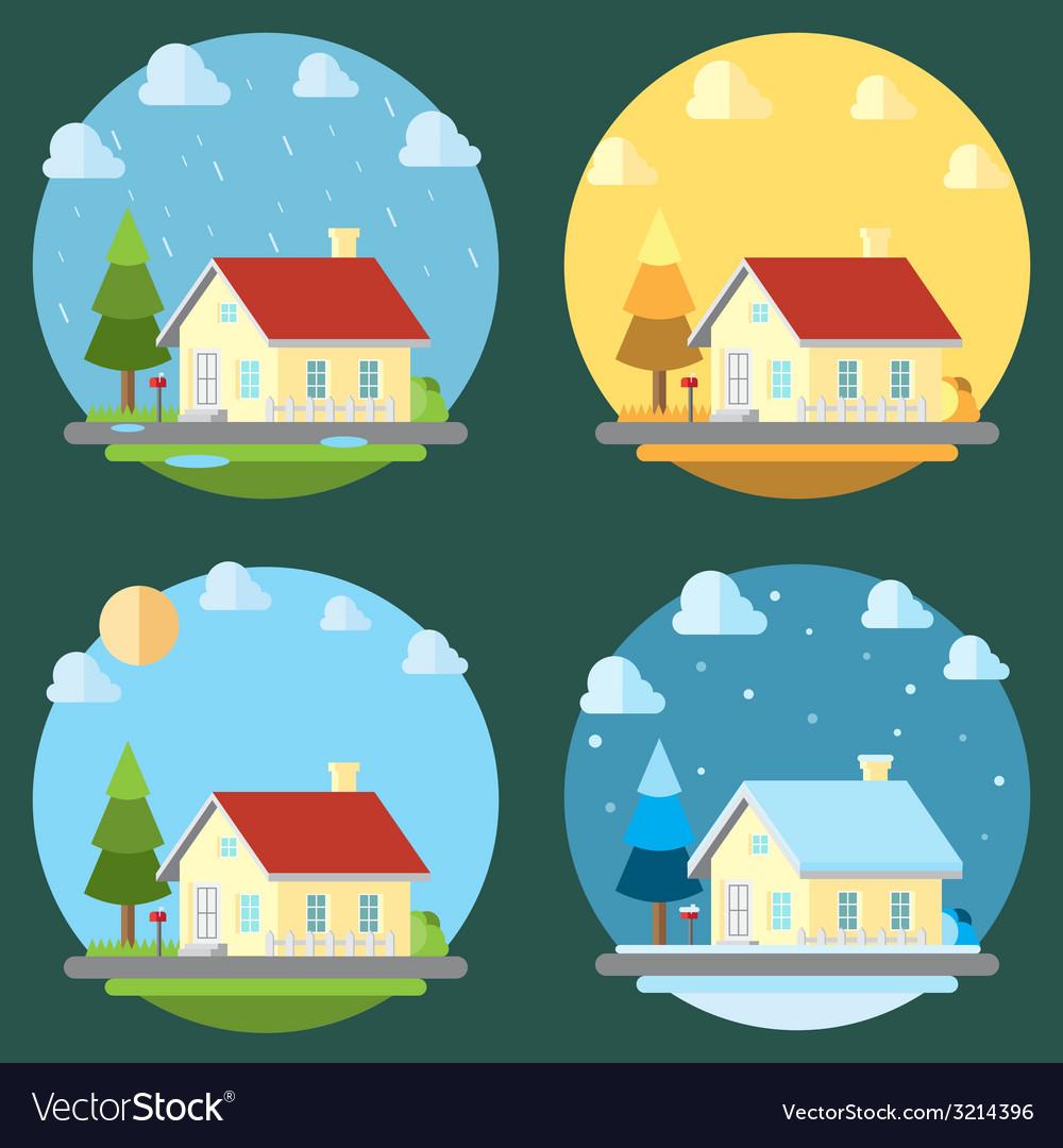 Pack of flat design four seasons vector | Price: 1 Credit (USD $1)