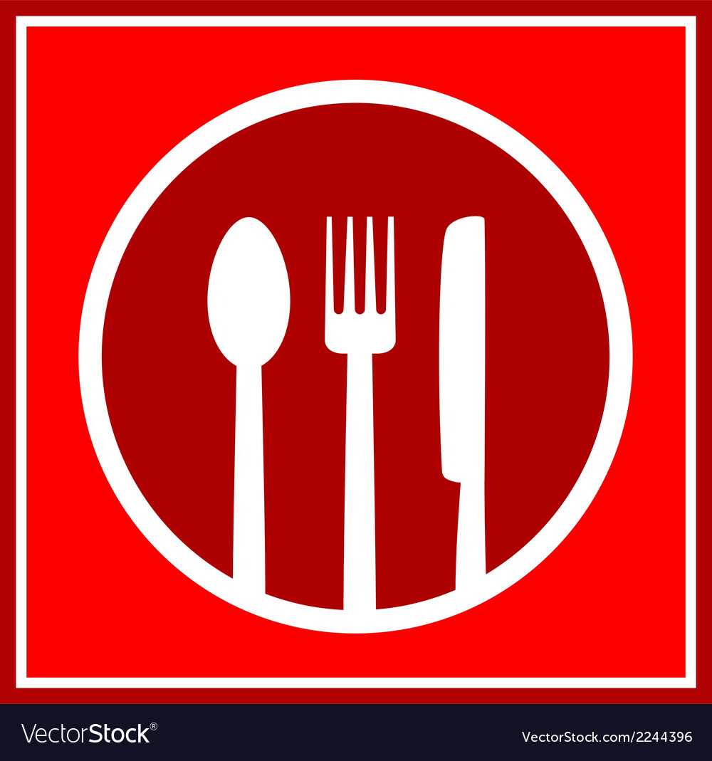 Red restaurant sign with utensil vector   Price: 1 Credit (USD $1)