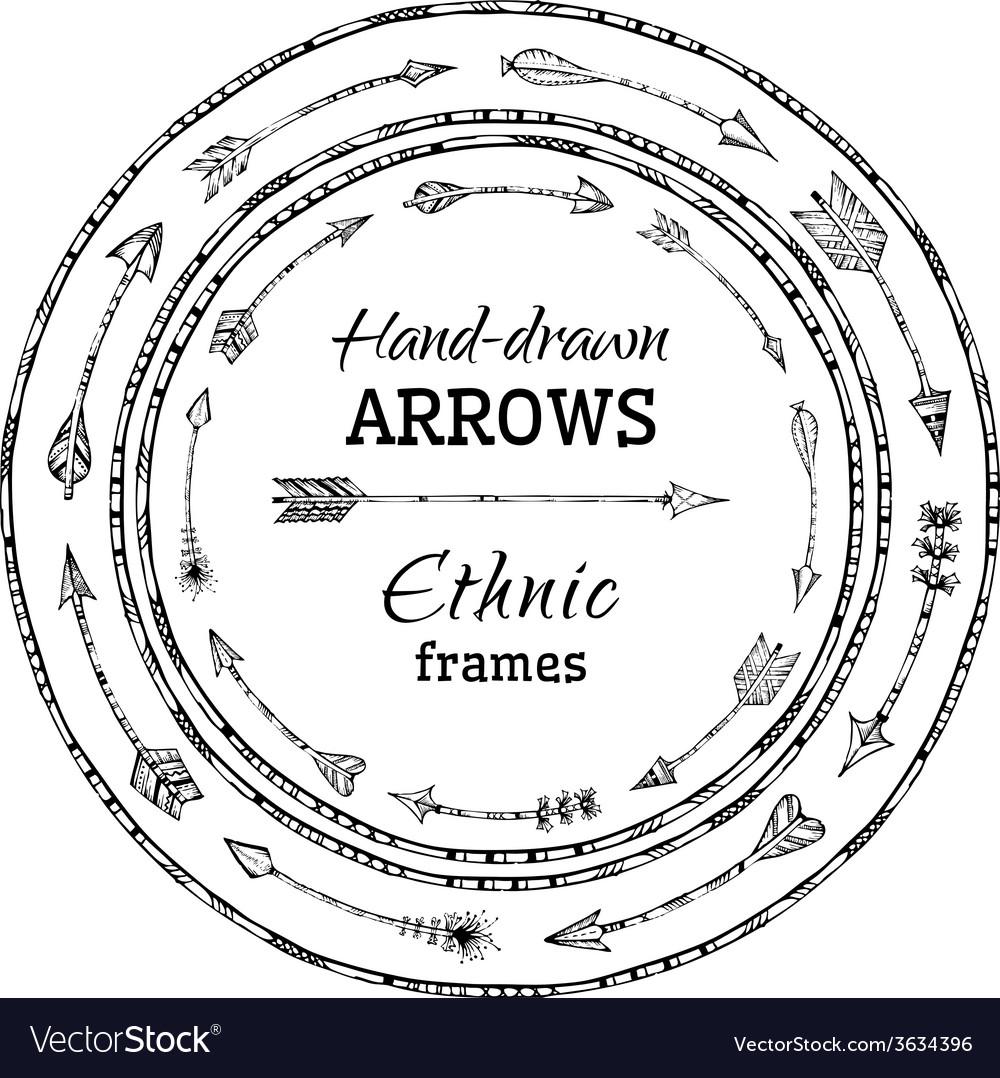 Round frames of ethnic arrows vector