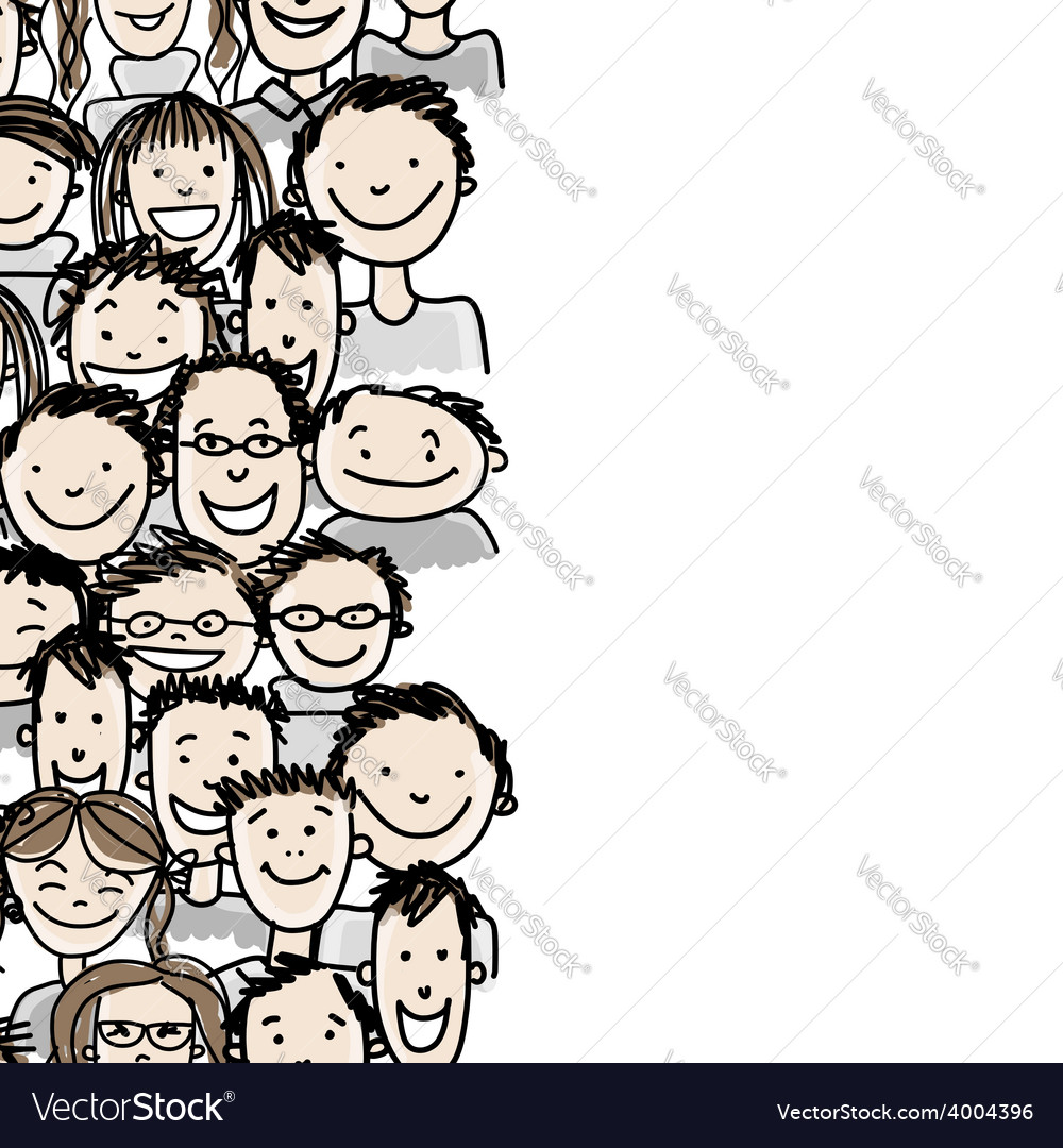 Seamless pattern with people crowd for your design vector   Price: 1 Credit (USD $1)