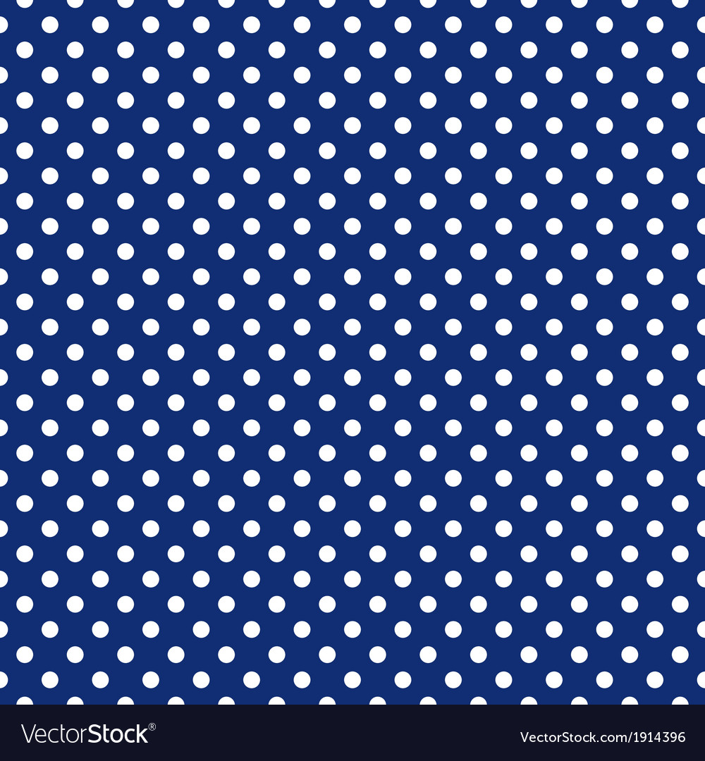 Seamless white polka dots navy blue background vector | Price: 1 Credit (USD $1)