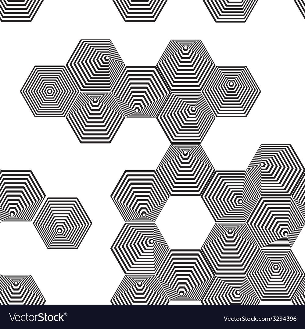 Volumetric 3d pyramid seamless pattern hexagon vector | Price: 1 Credit (USD $1)