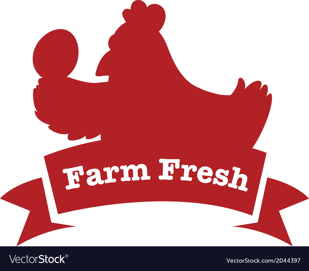 A farm fresh label with a red chicken vector | Price: 1 Credit (USD $1)