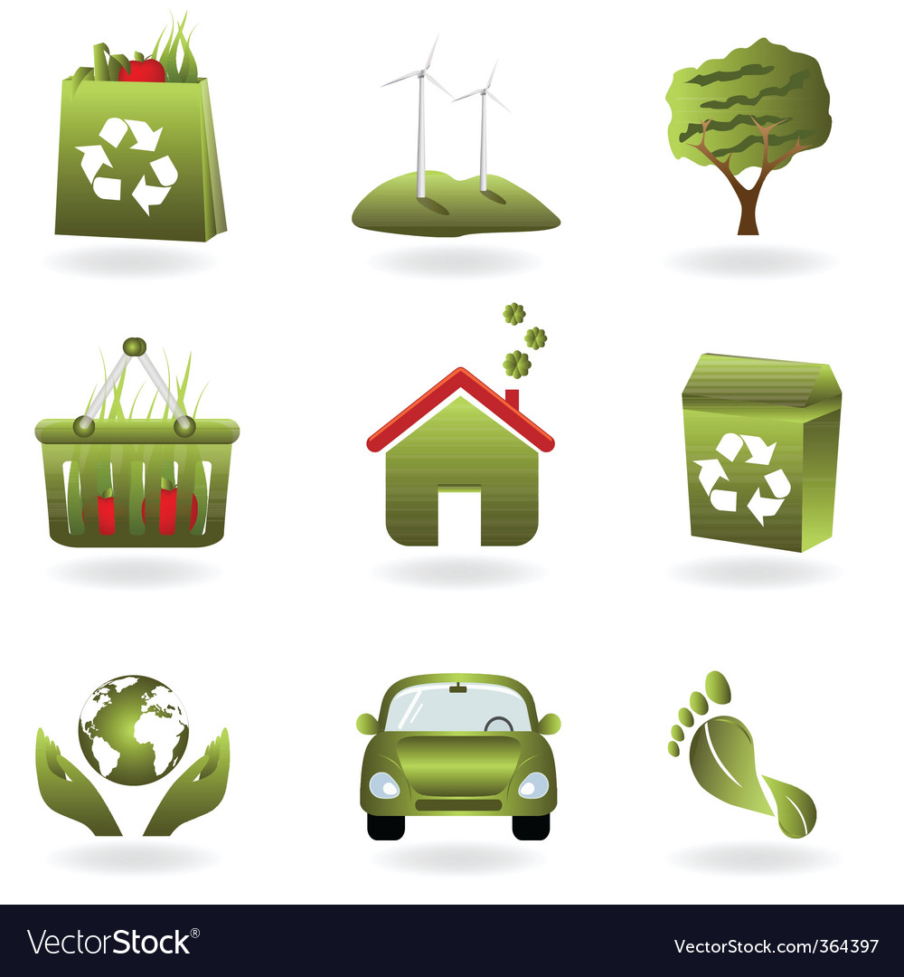 Eco icon set vector | Price: 3 Credit (USD $3)
