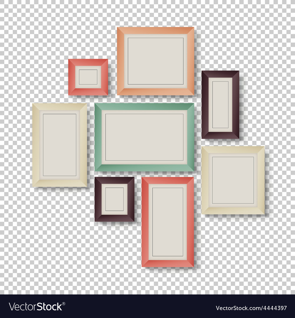 Frames set hipster color theme vector | Price: 1 Credit (USD $1)